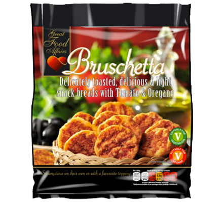 Bruschetta Snack Breads with Tomato & Oregano 12 x 150g by Great Food Affairs